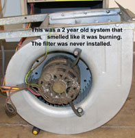 Your Furnance and cooling system needs to be clenaed every year.